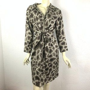 Elie Tahari Size 8 Animal Print ShirtDress